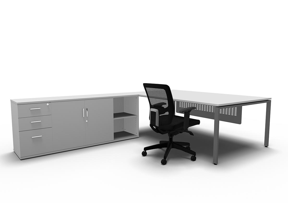 Evolution Manager Desk With Side Storage Entrawood